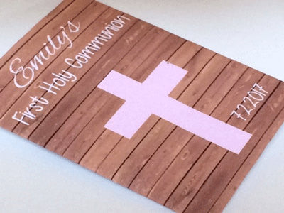 First Holy Communion Seed Packets Pink Cross on wood - Favor Universe
