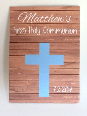 First Holy Communion Seed Packets Blue Cross on wood