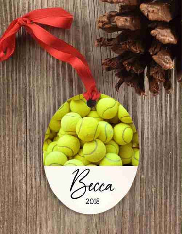 Tennis Ornament, tennis christmas ornament, tennis team gift, bowlers gift, custom tennis ornament, personalized tennis ornament,tenis ball - Favor Universe