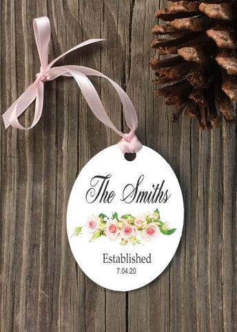 Custom pink rose  Ornament, wedding gift, engagement gift, anniversary gift, anniversary keepsake - Favor Universe