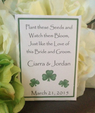 Irish Shamrock Wedding Seed Packets - Favor Universe