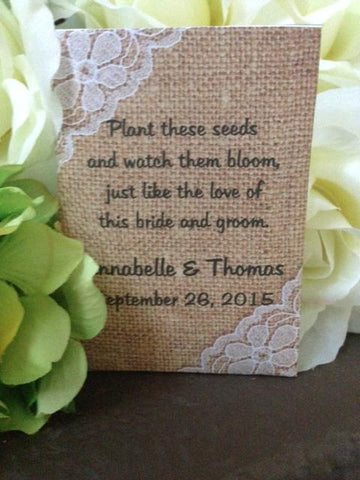 Burlap and Lace Wedding Seed Packets - Favor Universe