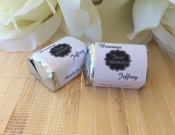 Personalized Wedding Candy Wrappers, just married favors, chalkboard wedding favors, candy bar wrappers, just married wedding favors - Favor Universe