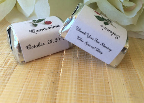 Personalized Quinceanera Candy Wrappers with Red Rose - Favor Universe