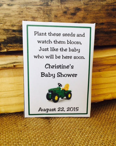 Tractor Baby Shower Seed Packets - Favor Universe