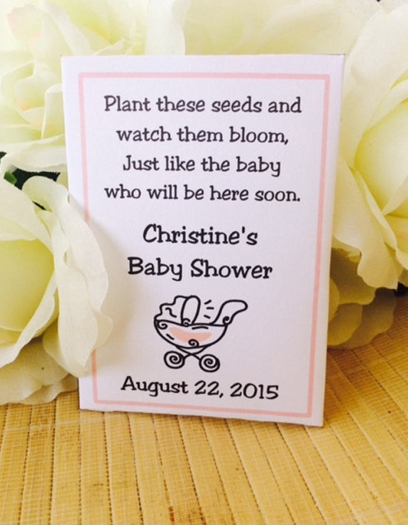 Stroller Baby Shower Seed Packets - Favor Universe