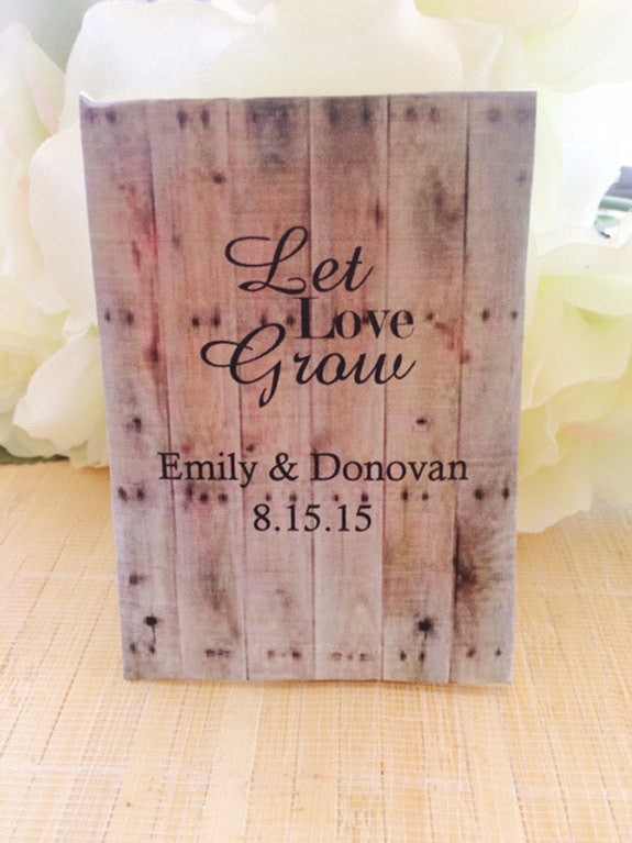 Wood Pallet Wood Design Personalized Wedding Seed Packets - Favor Universe