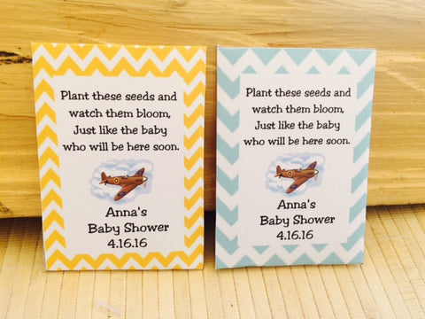 Airplane Baby Shower Seed Packet - Favor Universe