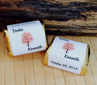 Personalized Wedding Candy Wrappers, fall candy bar wrappers, tree gifts, fall tree favors, leaf wedding favors, fall favors - Favor Universe