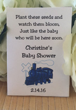 Train Baby Shower Seed Packets - Favor Universe