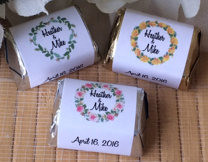 Floral Wreath Candy Wrappers - Favor Universe