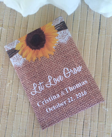 Sunflowers on Burlap and Lace Seed Packets