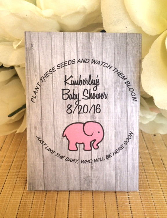 Personalized Baby Shower Seed Packets Custom Favors Pink Elephant Bib