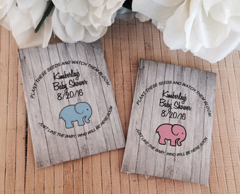 Elephant Baby Shower Seed Packets - Favor Universe