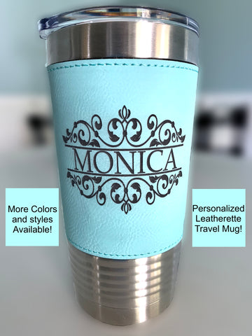 20oz Personalized Tumbler with leatherette, bridesmaid gift, bride gift