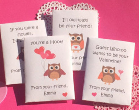 Valentines Day seed packets with owl theme - Favor Universe