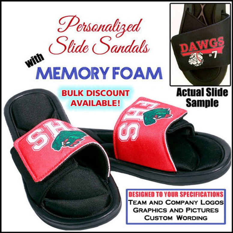 Slide Sandals - Custom Slides with Team Logo - Personalized Slides - Favor Universe