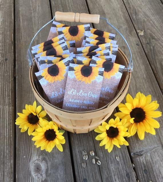 Sunflowers on Burlap and Lace Seed Packets - Favor Universe
