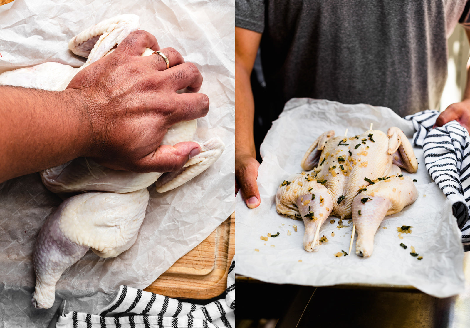 flattening a smoked spatchcock chicken