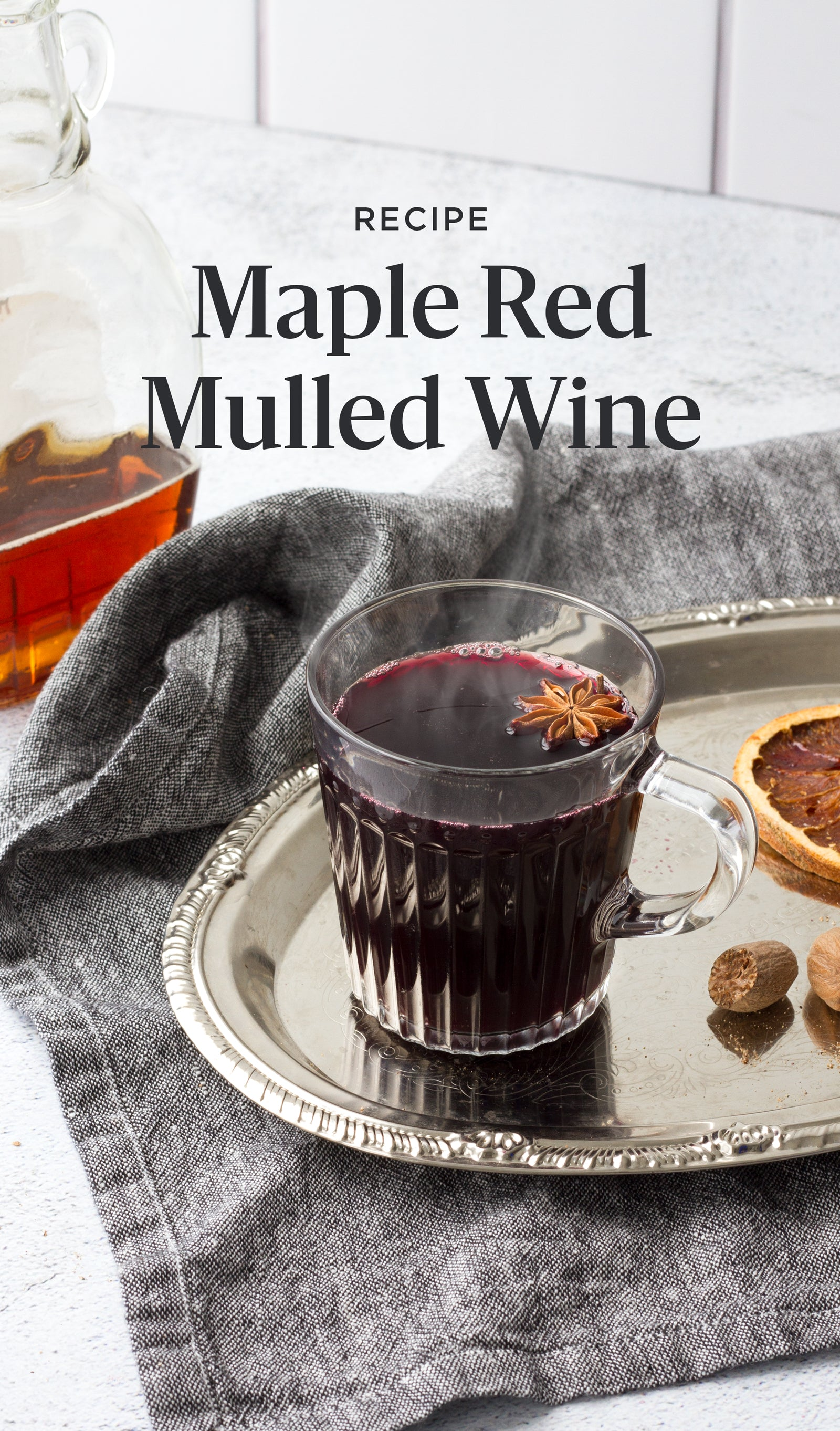 Maple red mulled wine in a mug, recipe for Pinterest