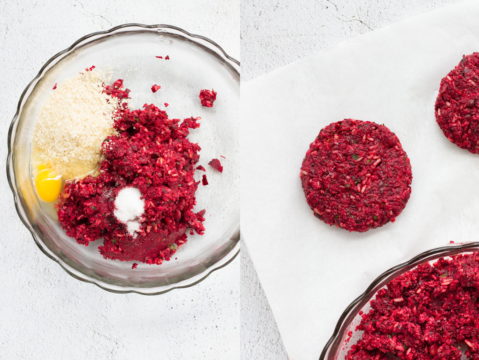 beet burger mix being formed into patties
