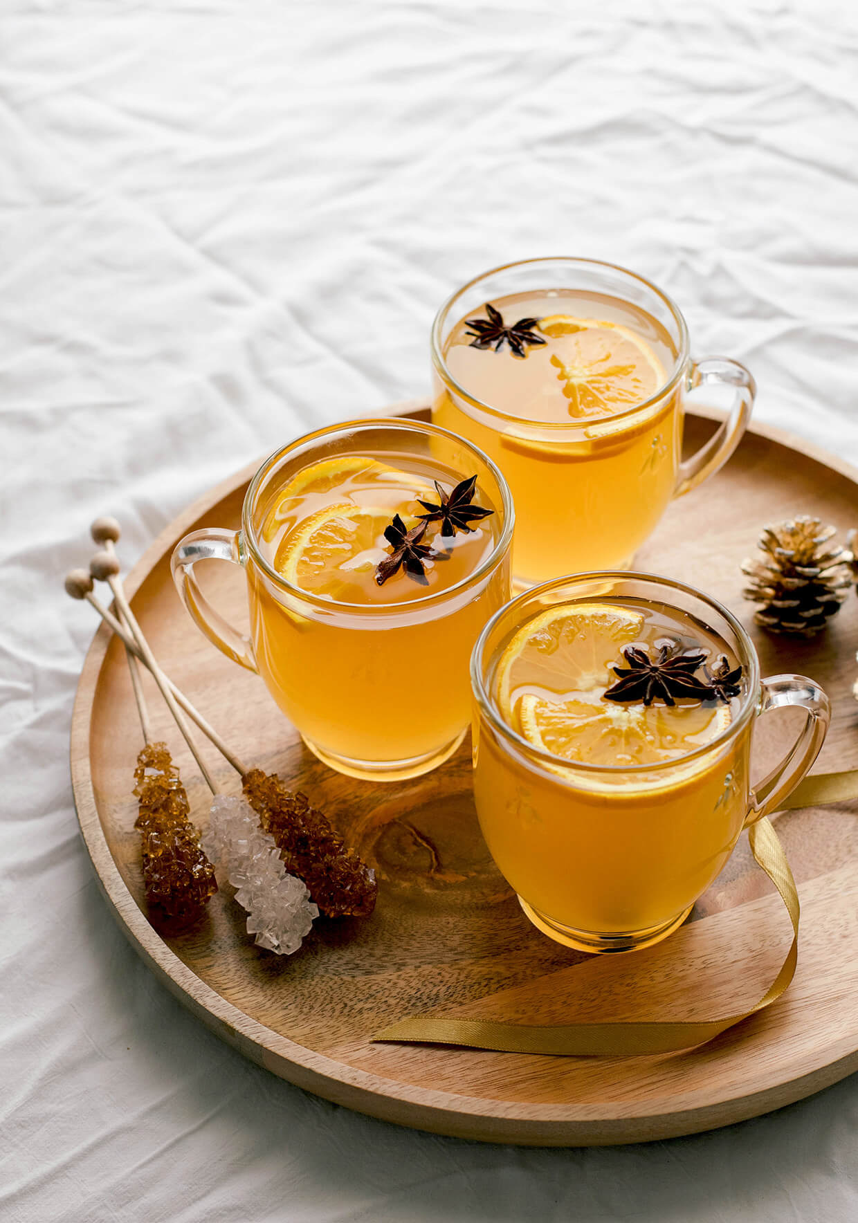 Orange white wine gluhwein with rock sugar