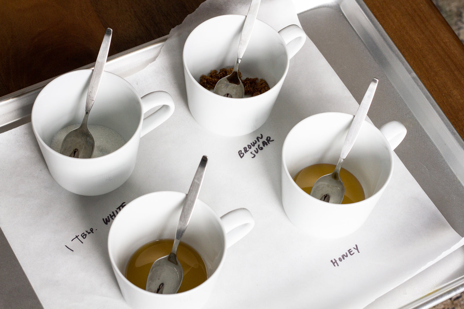 testing the best sweetener for mulled wine: brown sugar, honey, maple syrup, and white sugar
