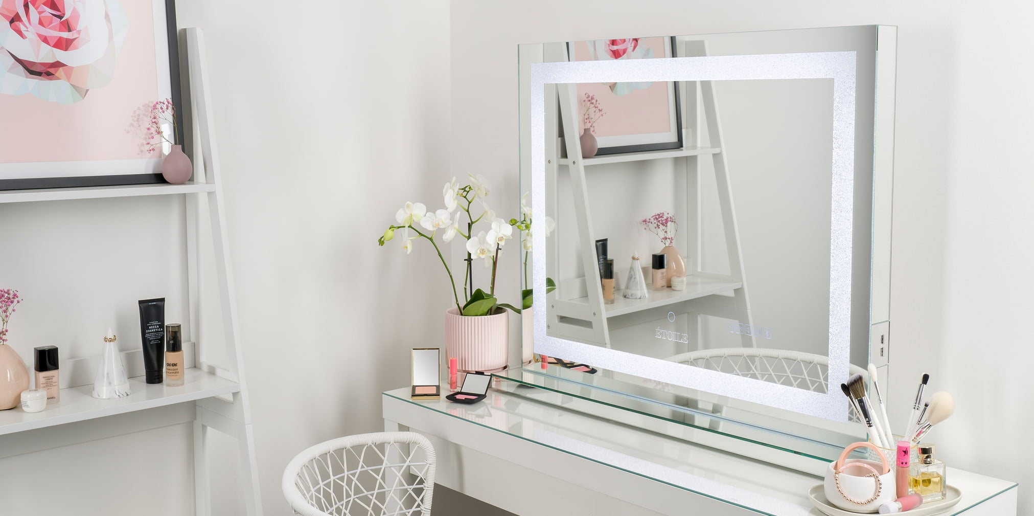 Crystal PRO Vanity Mirror by Etoile Collective with LED frame