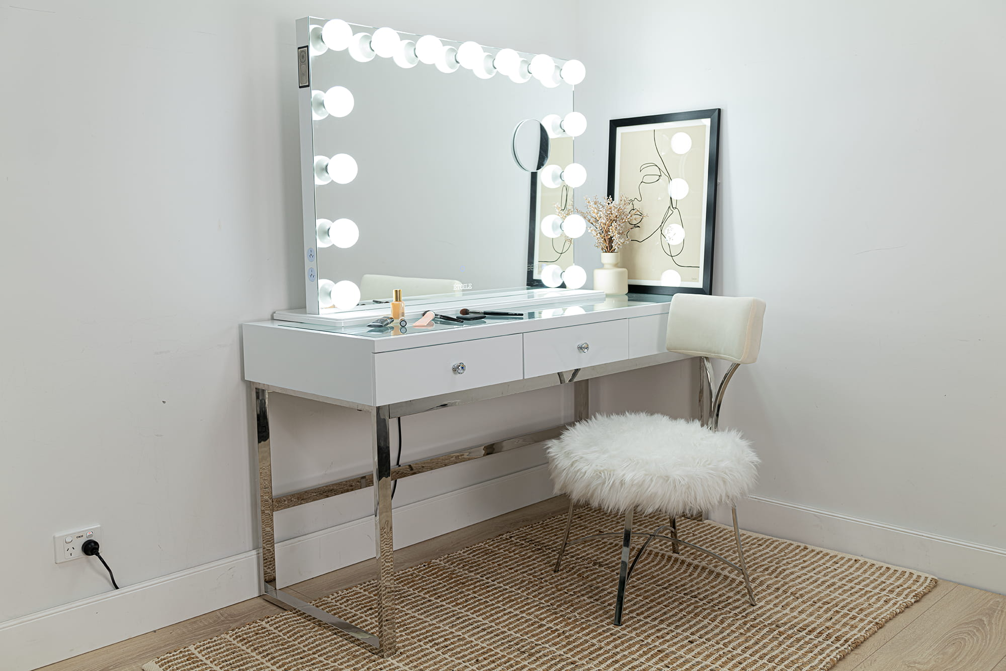 Faux Fur Vanity Chair with Mirror by Etoile Collective