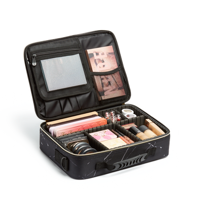 *PRE-ORDER* Medium Cosmetic Travel Case: Black Marble