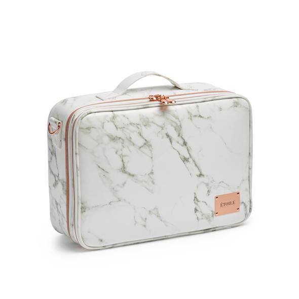 Large Cosmetic Travel Case: White Marble