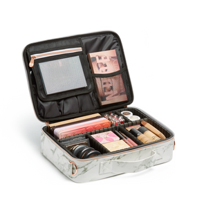 *Pre-order* Medium Cosmetic Travel Case: White Marble