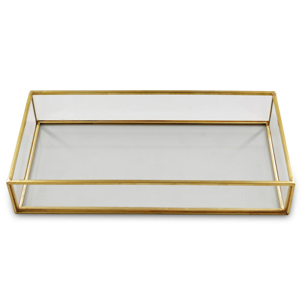 Glass and Metal Vanity Tray in BRASS - Étoile Collective