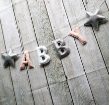 Load image into Gallery viewer, Glittery Star Name Banner | Customised nursery bunting