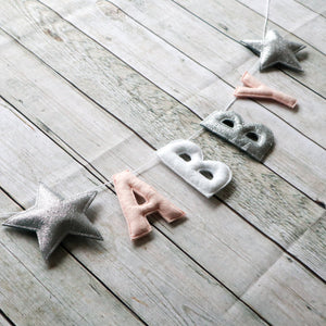 Glittery Star Name Banner | Customised nursery bunting