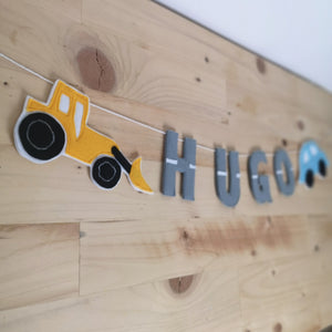 Tractor and car nursery name banner
