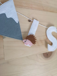 Little explorers name banner, nursery, mole, hedgehog and mountain bunting