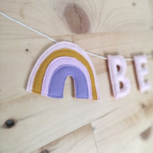 Load image into Gallery viewer, Rainbow Name Banner | Customised nursery bunting | rainbow baby bunting
