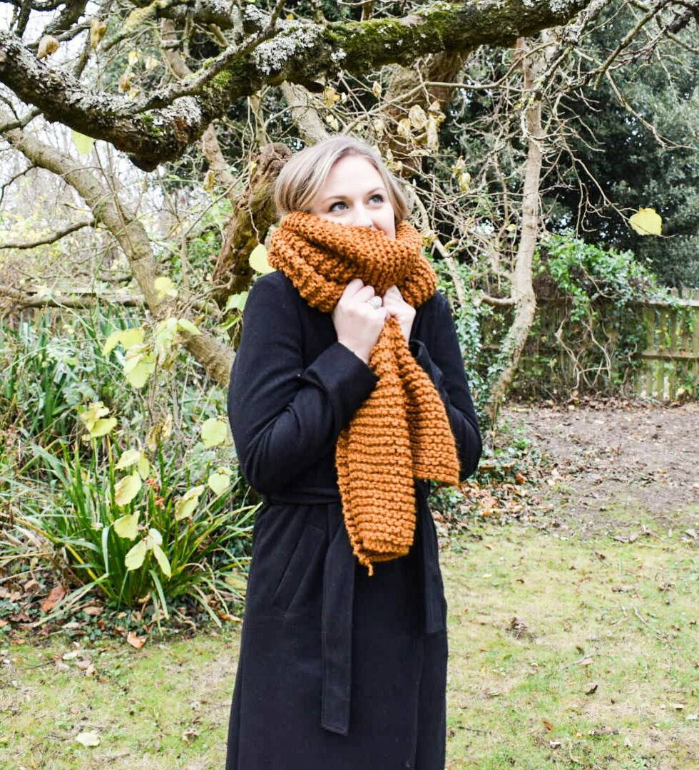 Handmade knitted chunky scarves | Choice of scarf colour, toffee, plum, and olive green