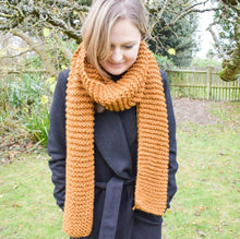 Load image into Gallery viewer, Handmade knitted chunky scarves | Choice of scarf colour, toffee, plum, and olive green