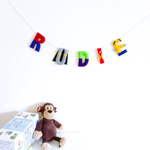 Superhero name banner for nurseries and childrens bedrooms | Personalised name garland