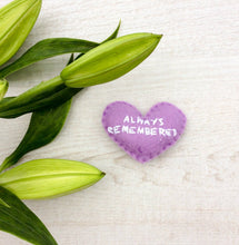 Load image into Gallery viewer, Always remembered keepsake for a grieving friend or family | small memorial pocket heart