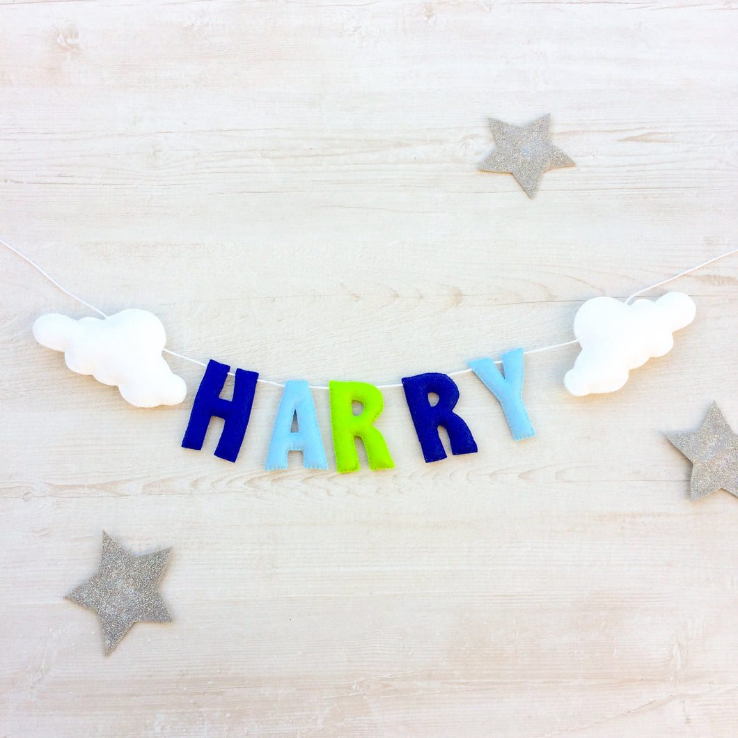 Cloud Name Banner for nurseries and childrens bedrooms | Personalised kids bunting