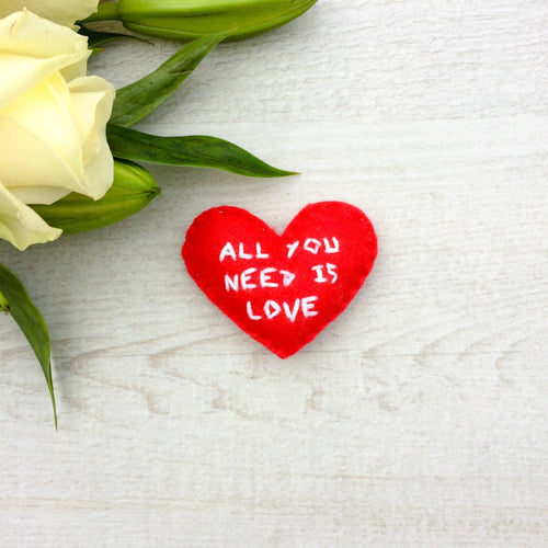 All you need is love personalised pocket hearts | Large choice of colours to choose from