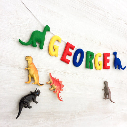 Dinosaur name banner for nurseries and childrens rooms | Personalised garland