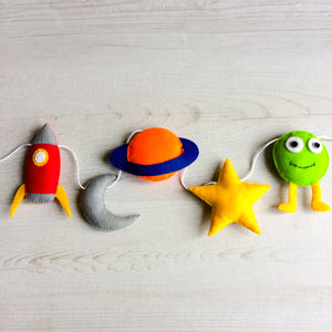 Space room banner for nurseries and childrens rooms | Rocket, moon, planet, star and alien wall decoration