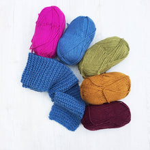 Load image into Gallery viewer, Handmade childrens knitted scarves in a choice of colours | Christmas gift ideas