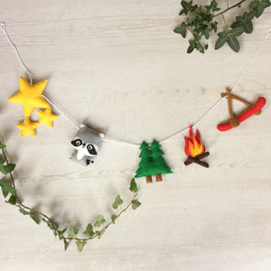 Camping themed forest friends bunting for nurseries and childrens rooms | New baby garland