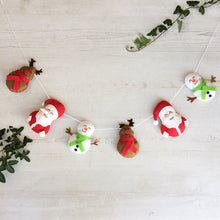 Load image into Gallery viewer, Family Christmas banner with Santa, reindeer and snowmen | Handmade christmas wall decoration