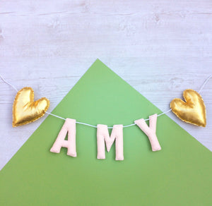 Metallic heart name banner | Nursery name bunting